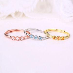 3mm Topaz/Garnet/Pink Crystal Bridal Wedding Rings